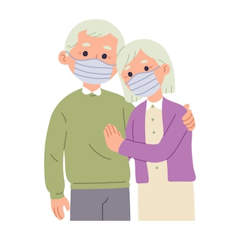 Illustration of an elderly couple wearing a mask on their faces