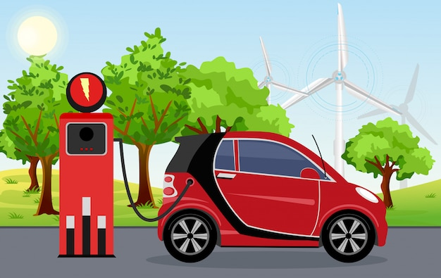 Illustration of electric car red color on charging station with windmills, green tree, sun, blue sky background.  electric car infographic concept. electromobility e-motion concept.