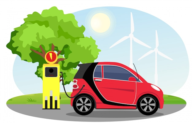 Illustration of electric car red color on charging station with windmills, green tree, sun, blue sky background.  electric car infographic concept.