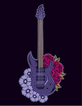 花とイラストのエレキギター