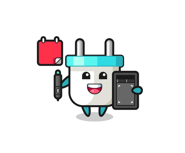 Illustration of electric plug mascot as a graphic designer