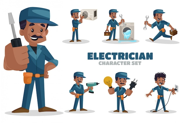 Illustration of electrician character set