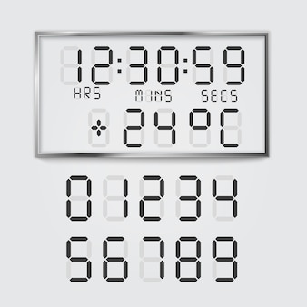 Illustration of electronic alarm clock digital font numbers and temperature