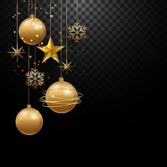 Illustration of elegant celebration decoration balls, snowflakes background premium vector