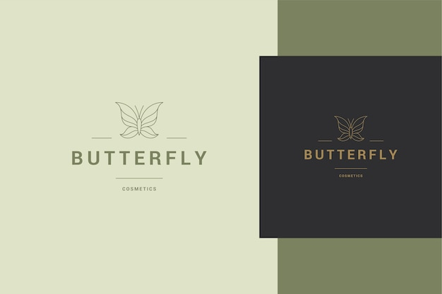 Illustration of elegant linear logo template of minimal butterfly on banner