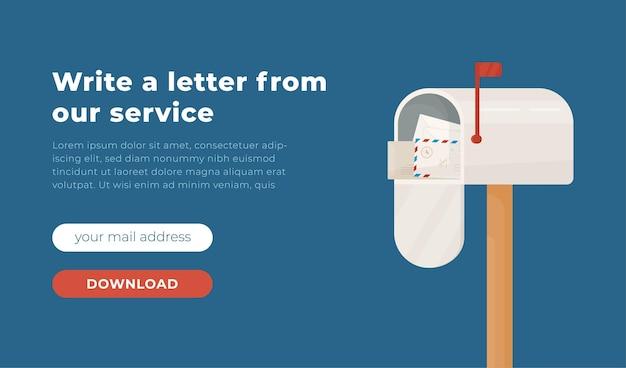 Illustration of email website design envelope with laptop virus protection software