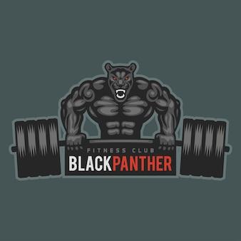 Illustration, emblem panther bodybuilder lifting barbell and growls, format eps 10