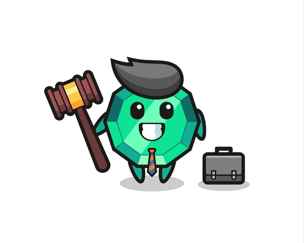 Illustration of emerald gemstone mascot as a lawyer , cute style design for t shirt, sticker, logo element
