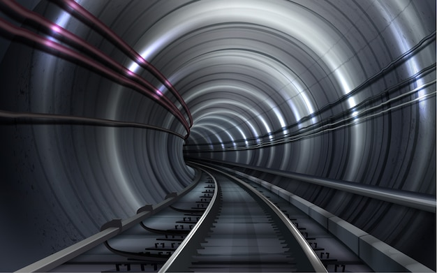 Illustration of an empty metro tunnel with railroad track and lighting