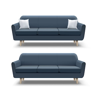 Illustration of empty navy blue sofa and with square pillows on white background