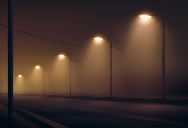 Illustration of empty road lit by lanterns in the fog the night. street lighting in warm colors