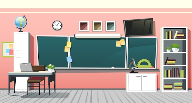 Illustration of empty school class room interior with green chalkboard on pink wall. education background