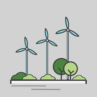 Illustration of an energy generating wind turbine