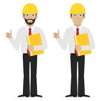 Инженер-иллюстратор показывает палец вверх, формат eps 10