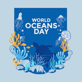 世界海洋デーに捧げられたイラスト環境エコシステム