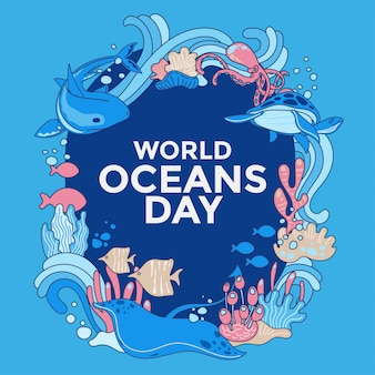 Illustration environment ecosystem dedicated to world ocean day