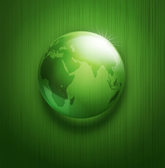 Illustration of environmental background with transparent green ball-globe