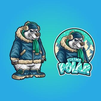 Illustration of eskimo polar bear