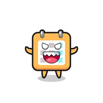 Illustration of evil calendar mascot character , cute style design for t shirt, sticker, logo element