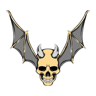Illustration of evil head skull with iron horns and golden bat wings
