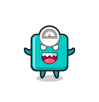Illustration of evil weight scale mascot character , cute style design for t shirt, sticker, logo element