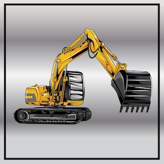 Illustration of excavator, heavy industry machine isolated