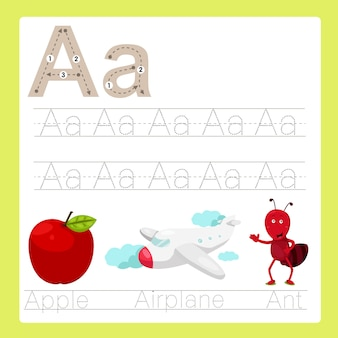 Illustration of a exercise a-z cartoon vocabulary