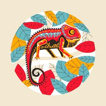 Illustration exotic chameleon skin multicolored.