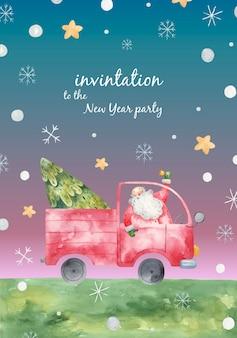 Иллюстрация сказочного санта-клауса на грузовике с елкой, новогодним поздравлением и приглашением, полиграфическим дизайном
