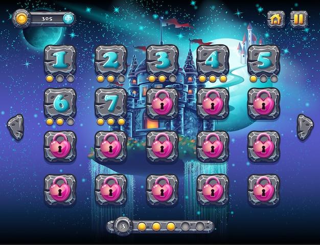 Иллюстрация сказочного космоса с веселыми планетами с примерами экранных уровней