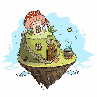 Illustration of fairytale flying island with mushrooms