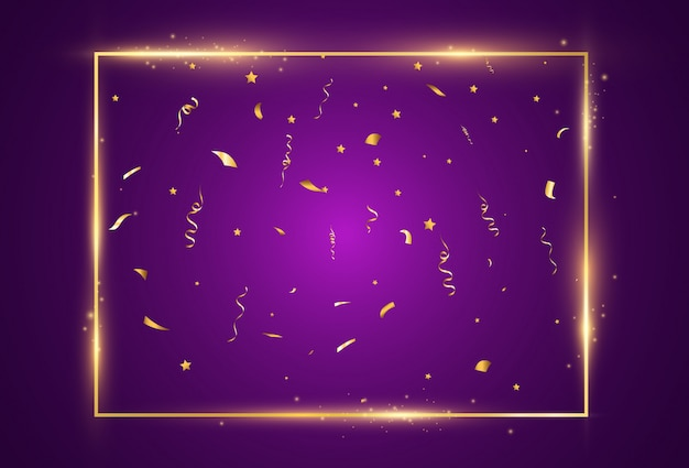 Illustration of falling confetti on a transparent background.