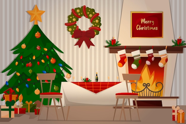 Illustration of family dinner. fireplace, christmas tree, festive table and gifts.