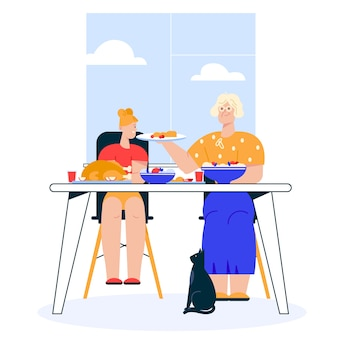 Illustration of family dinner. granddaughter sitting at festive dining table. grandmother serves dish. family celebrates holiday, eating food together, relationship leisure concept