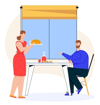 Illustration of family dinner. wife serves turkey or chicken. husband sitting at dining table. couple celebrating anniversary, eating food together. family holidays and relationships