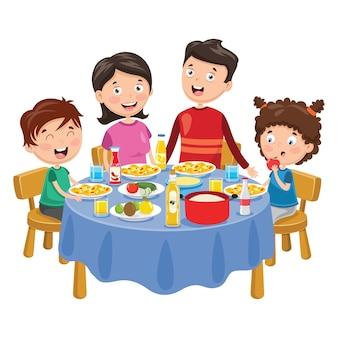 Illustration of family having dinner