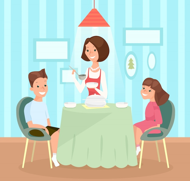 Illustration of family meal. mother pours soup in children s dishes, son and daughter together at the table have lunch.