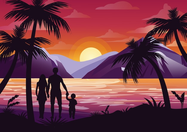 Illustration of family silhouette with mother, father and kid on the beach under the palm tree on sunset background and mountains in flat style.