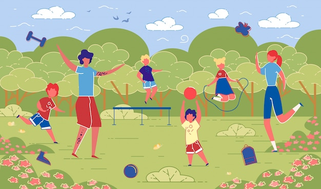 Illustration family sporting activities in nature.