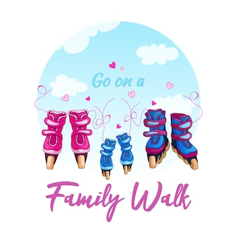 Illustration of a family walk on roller skates.