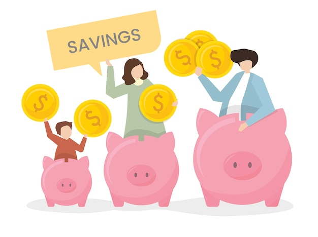 Illustration of a family with a piggy bank