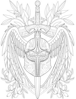 Illustration of fantastic hard warrior helmet with pierced long sword and large wings. weapon run through an armored barbute line drawing wit a big feathers