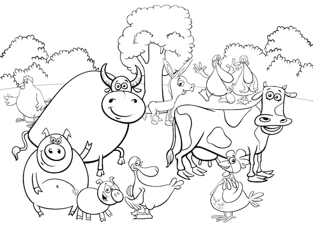 Illustration of farm animal characters group coloring book