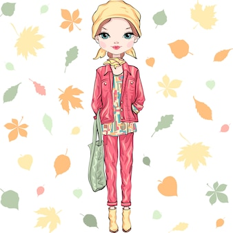 Illustration fashion girl in autumn clothes