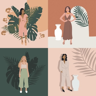 Иллюстрации модные девушки в современных нарядах с тропическими растениями.