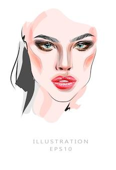 イラスト、メイクと美容をテーマにしたファッションのイラスト。美しい女性の卵のクローズアップ。美しい少女と美しい目と明るい化粧。