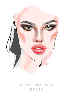 Illustration, fashion illustration on the theme of makeup and beauty. beautiful female egg close-up. beautiful girl and beautiful eyes and bright makeup.