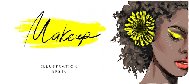 Illustration, fashion illustration on the theme of makeup and beauty. dark-skinned beautiful girl with yellow shades and a yellow flower in her hair