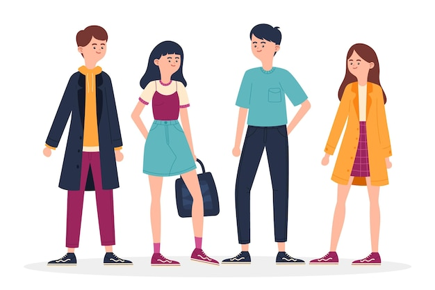 Illustration of fashion young koreans