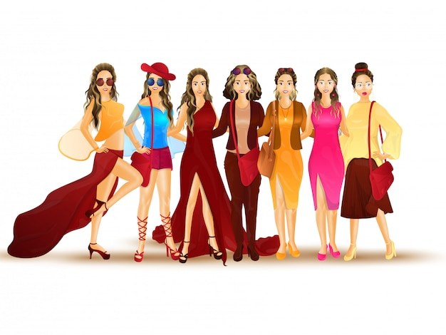 Illustration of fashionable women.